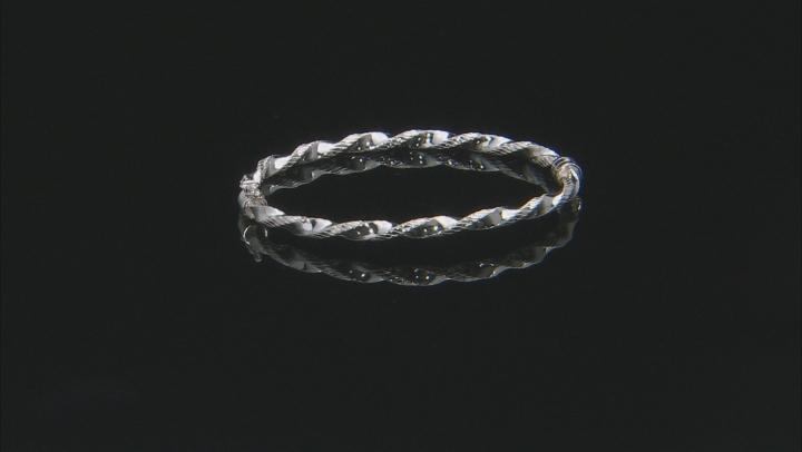 Sterling Silver Diamond Cut Torchon Polished Bangle Bracelet