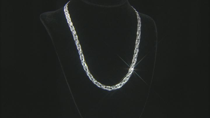 "Sterling Silver Braided Herringbone Necklace 20"""