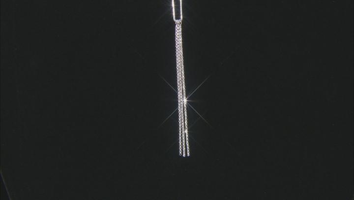 Sterling Silver Oval Tassel Link Necklace 20 inch