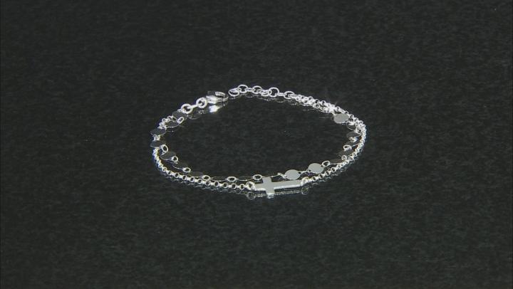 Sterling Silver Station Cross Rolo 6.75 Inch Bracelet