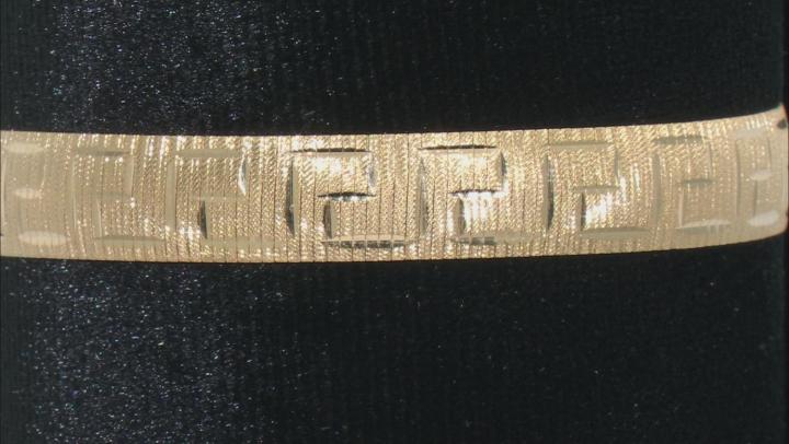 18K Yellow Gold Over Sterling Silver 8.30MM 7.5 Inch Greek Omega Bracelet