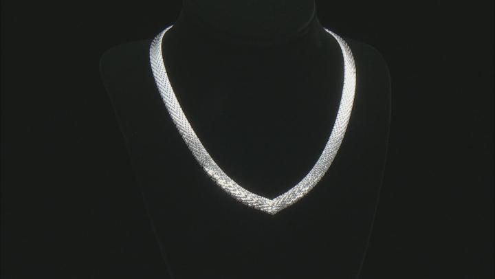 "Sterling Silver 18"" V-Shape Necklace"