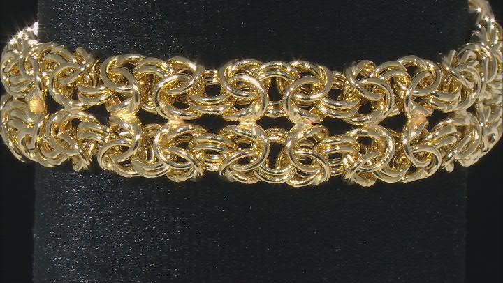 10K Yellow Gold Over Sterling Silver 15MM Byzantine Bracelet