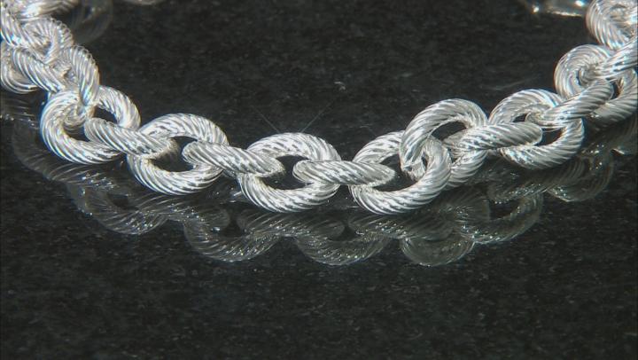 Sterling Silver 11.5MM Striped Rolo Bracelet