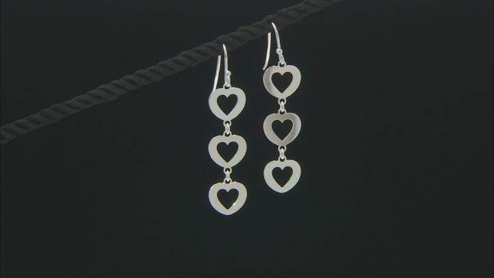 Sterling Silver Multi-Heart Dangle Earrings