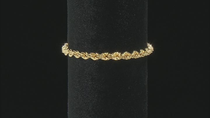 18K Yellow Gold Over Sterling Silver Adjustable Rope Link Bracelet