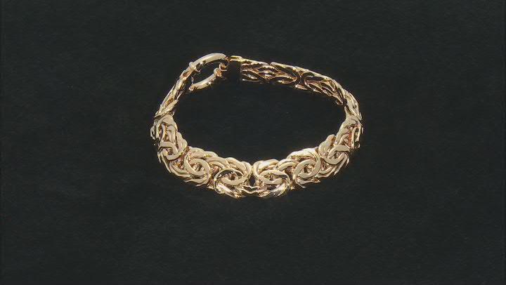 18K Yellow Gold Over Sterling Silver 14MM High Polished Bold Byzantine Link 8 Inch Bracelet