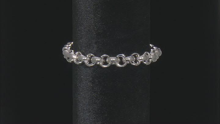 Rhodium Over Sterling Silver 10MM High Polished Bold Rolo Link 8 Inch Bracelet