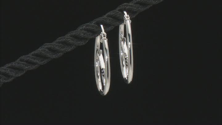 Sterling Silver 1x20MM Cupid Arrow Tube Hoop Earrings