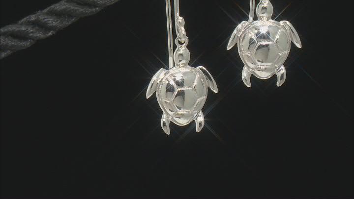 Sterling Silver Turtle Drop Earrings