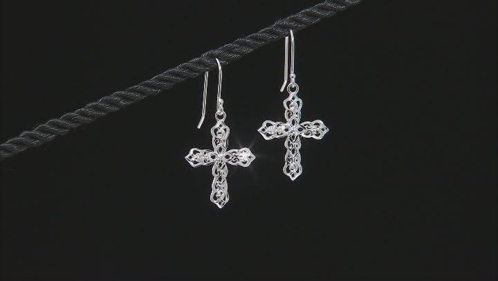 Sterling Silver Diamond-Cut Filigree Cross Dangle Earrings
