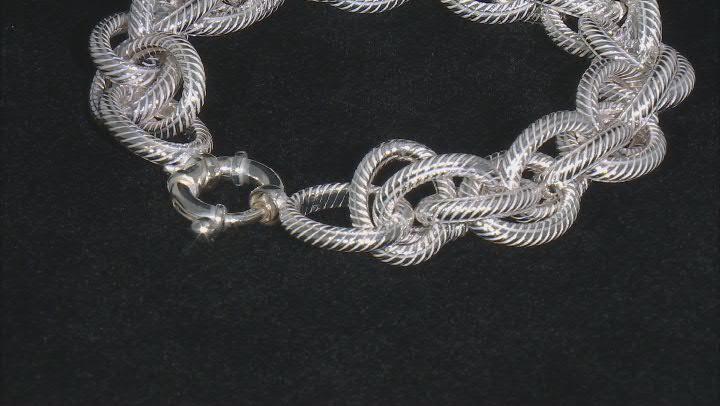 Sterling Silver 13.6MM Loose Rope Link Bracelet