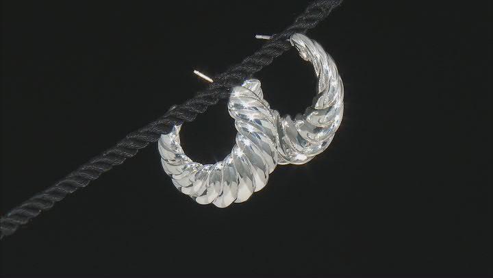 Sterling Silver Scalloped Graduated Hoop Earrings