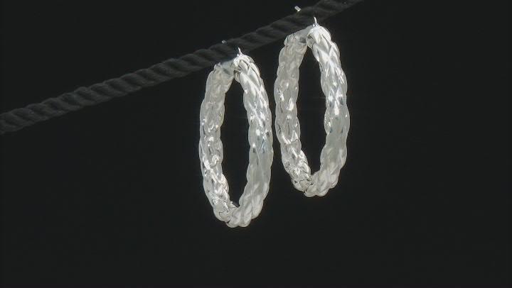 Sterling Silver 5x31MM Woven Tube Hoop Earrings