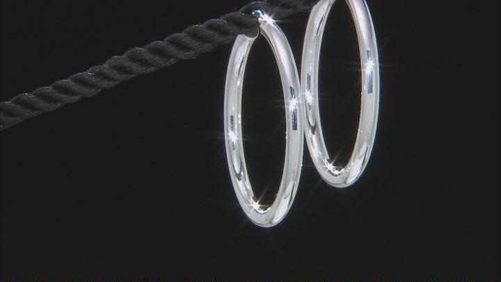 Sterling Silver Polished Tube Hoop Earrings