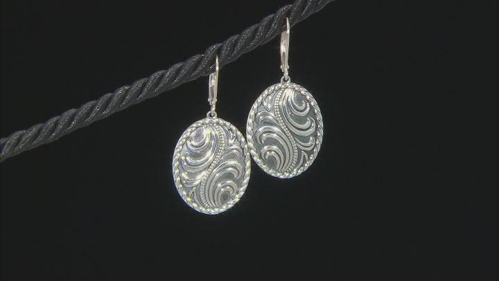 Rhodium Over Sterling Silver Oxidized Swirl Oval Earrings