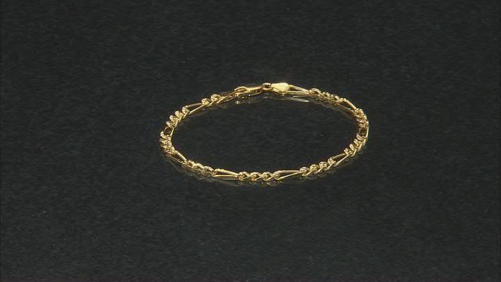 18K Yellow Gold Over Sterling Silver Figaro Link Bracelet