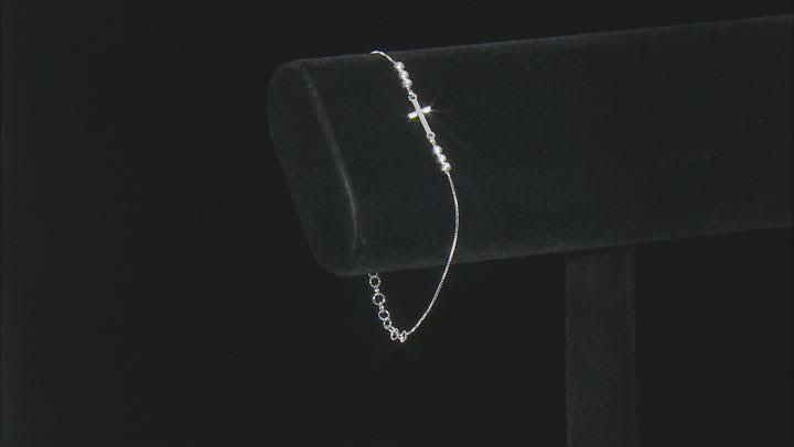 Sterling Silver Diamond-Cut Bead Cross Box Link Bracelet