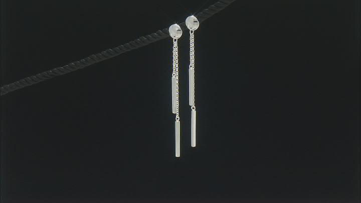 Sterling Silver Dangle Tube Bar Earrings