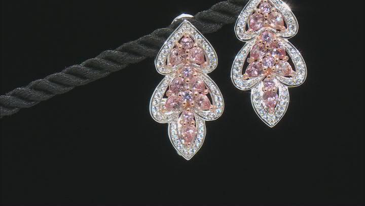 Pink Garnet Rhodium Over Sterling Silver Earrings 3.19ctw
