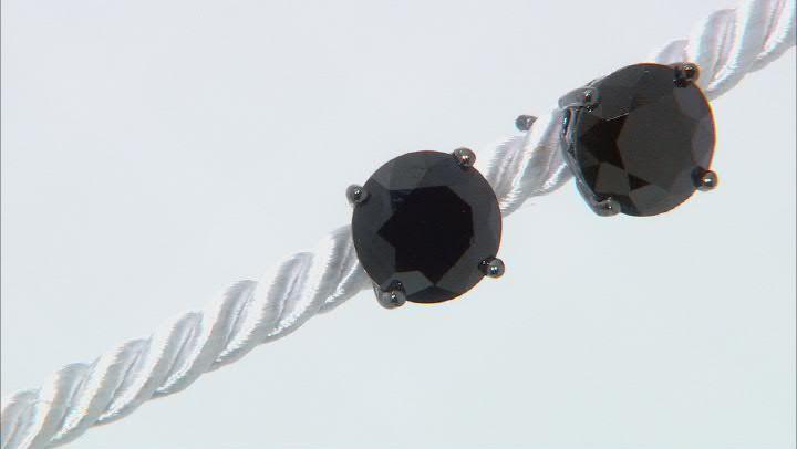 Black Spinel Black Rhodium Over Sterling Silver Stud Earrings 4.43ctw