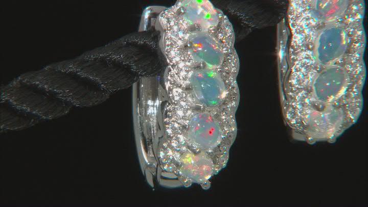 Multicolor Ethiopian Opal Rhodium Over Silver Hoop Earrings 1.53ctw