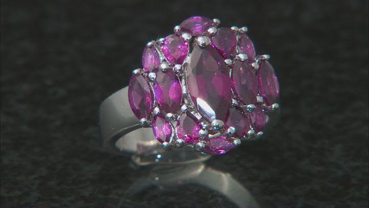Purple Rhodolite Rhodium Over Sterling Silver Ring 3.20ctw