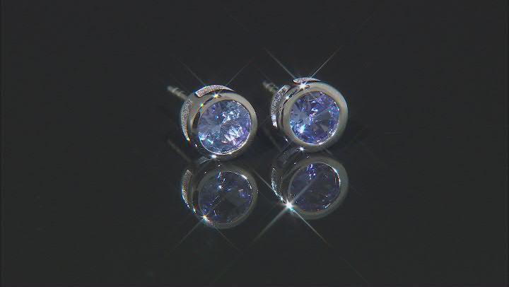 Blue Tanzanite Rhodium Over Sterling Silver Stud Earrings. 0.85ctw