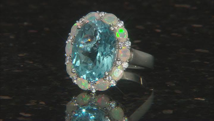 Blue Topaz Rhodium Over Silver Ring 11.29ctw