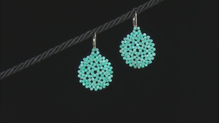 Blue Amazonite Rhodium Over Sterling Silver Beaded Earrings