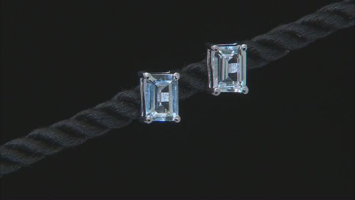 Aquamarine Rhodium Over Sterling Silver Stud Earrings 1.40ctw