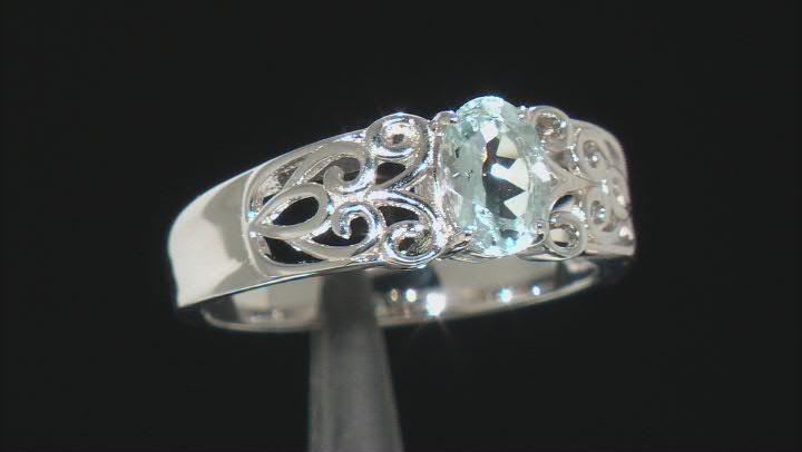 Blue Aquamarine Rhodium Over Sterling Silver Ring. 0.60ctw