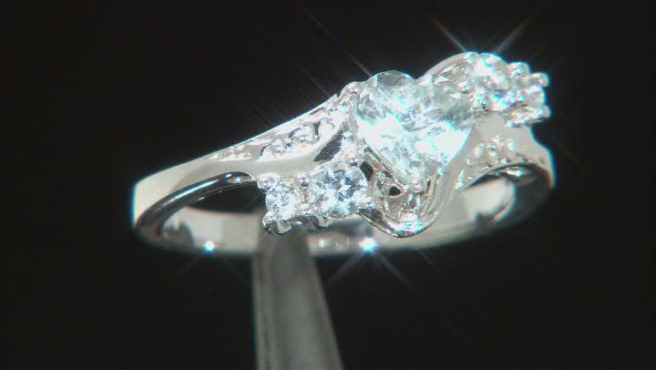 Blue Aquamarine Rhodium Over Sterling Silver Ring 0.87ctw