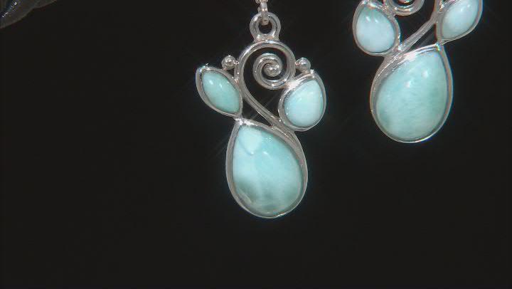 Blue Larimar Rhodium Over Sterling Silver Earrings.