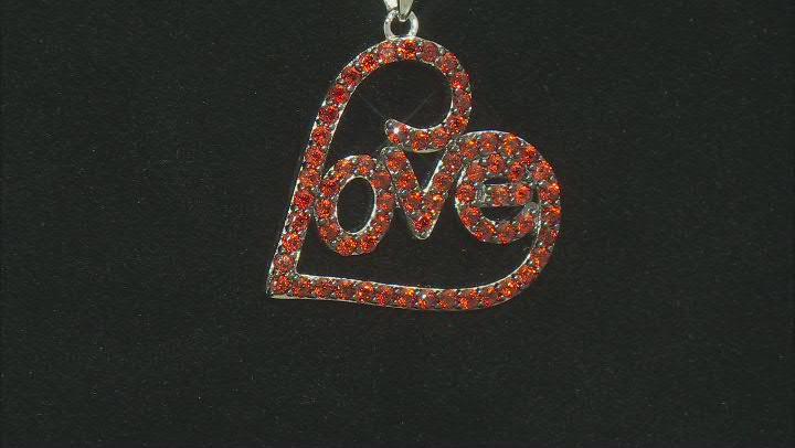 Vermelho Garnet™ Rhodium Over Sterling Silver LOVE Pendant With Chain 1.19ctw