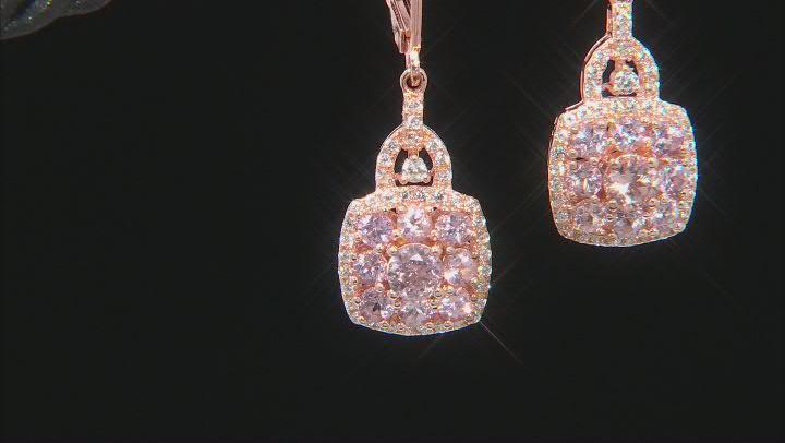 Pink Garnet 18k Rose Gold Over Silver Dangle Earrings 2.01ctw