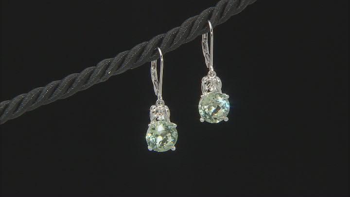 Green Prasiolite Rhodium Over Sterling Silver Earrings 4.96ctw