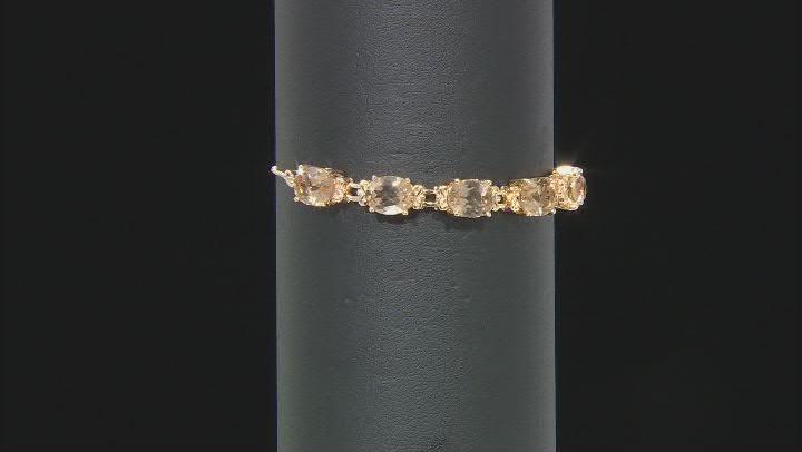 Champagne Quartz 18k Yellow Gold Over Sterling Silver Bolo Bracelet 7.23ctw