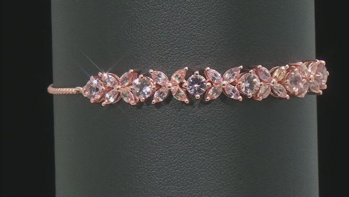 Pink Garnet, 18K Rose Gold over sterling Silver bolo bracelet. 2.98ctw