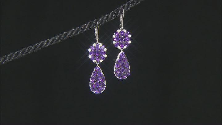 Purple African Amethyst Rhodium Over Sterling Silver Earrings. 5.73ctw
