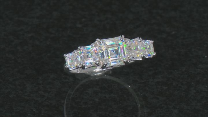 White Fabulite Strontium Titanate 10k White Gold Ring 4.62ctw