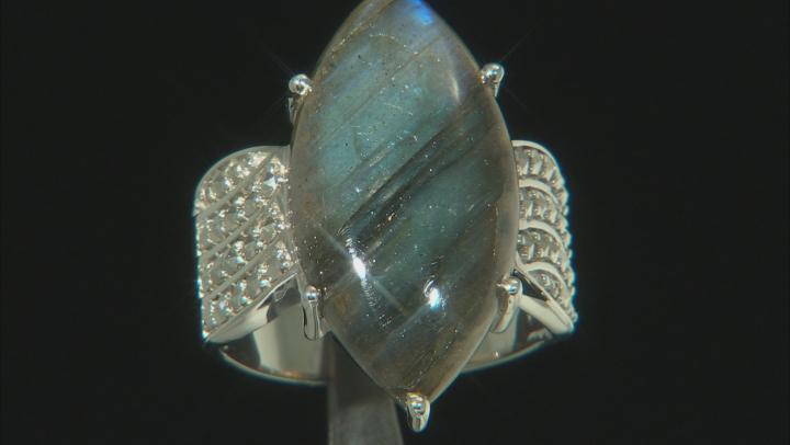 Gray Labradorite Rhodium Over Silver Ring