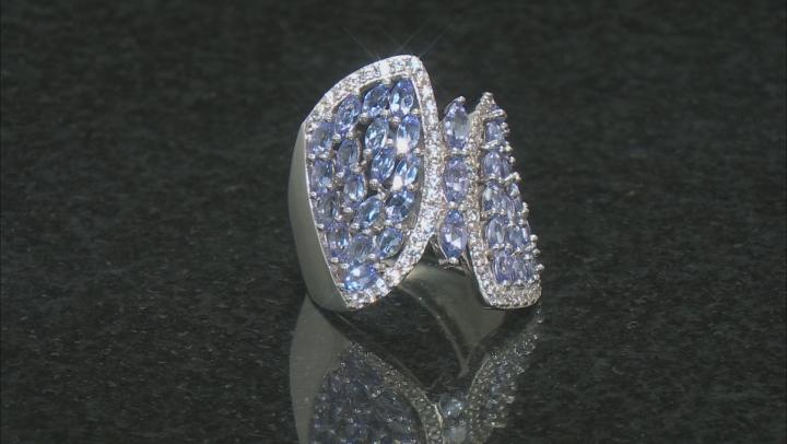 Blue Tanzanite Rhodium Over Silver Ring 3.20ctw