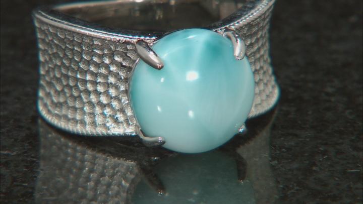 Blue Larimar Rhodium Over Silver Ring