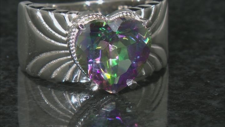 Multi-Color  Quartz Rhodium Over Sterling Silver Solitaire Ring 2.98ctw