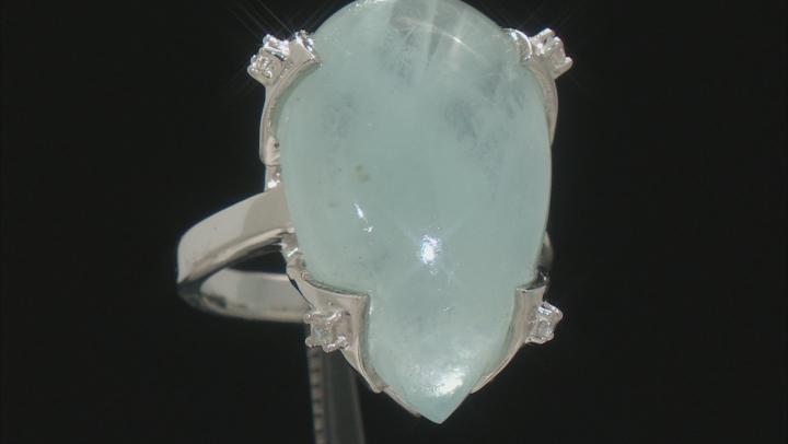 Blue Aquamarine Rhodium over Silver Ring .10ctw