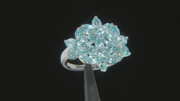 Blue Zircon Rhodium Over Sterling Silver Ring 4.66ctw