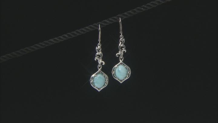 Blue Larimar Rhodium Over Silver Dangle Earrings