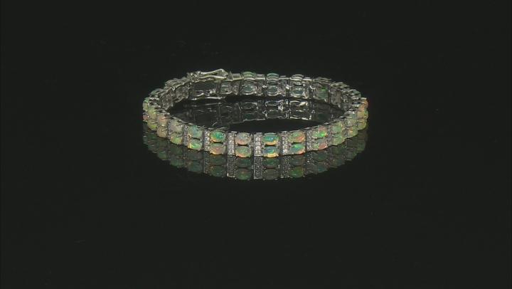Multicolor Ethiopian Opal Rhodium Over Silver Bracelet 8.77ctw