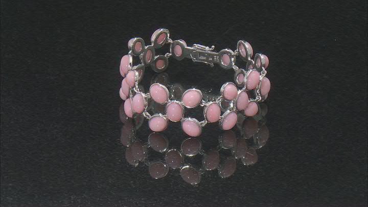 Pink Opal Rhodium Over Sterling Silver Bracelet